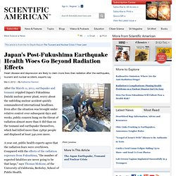 Japan's Post-Fukushima Earthquake Health Woes Go Beyond Radiation Effects