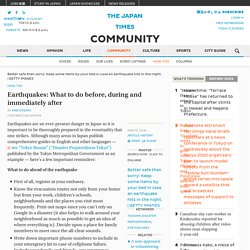 *****Earthquakes: What to do before, during and immediately after