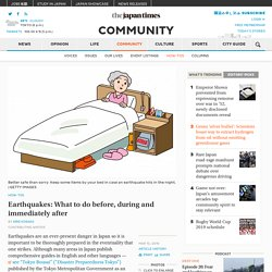 Earthquakes: What to do before, during and immediately after