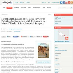 Nepal Earthquakes 2015: Desk Review of Existing Information with Relevance to Mental Health & Psychosocial Support - Nepal