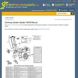 Earthway Garden Seeder 1001B Manual
