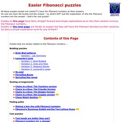 Easier Fibonacci Number puzzles