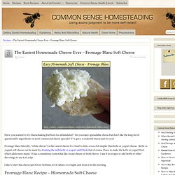 Easiest Homemade Cheese Ever! - Fromage blanc soft cheeseCommon Sense Homesteading