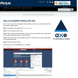 Easy Accessibility Testing with aXe