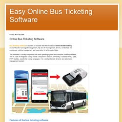 Easy Online Bus Ticketing Software: Online Bus Ticketing Software