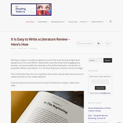 It Is Easy to Write a Literature Review - Here's How