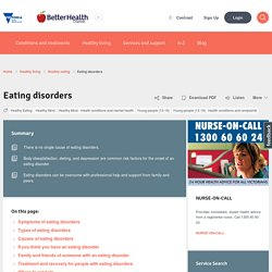 Eating disorders - Better Health Channel