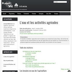 L'eau et les activités agricoles