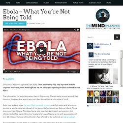 Ebola – What You're Not Being Told