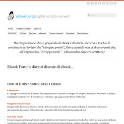 Ebook Forum: dove si discute di ebook…