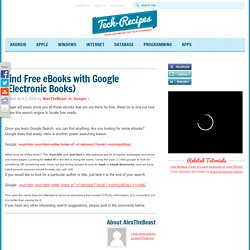 Find Free eBooks with Google (Electronic Books)
