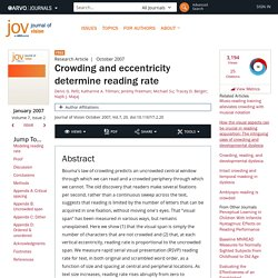 Crowding and eccentricity determine reading rate