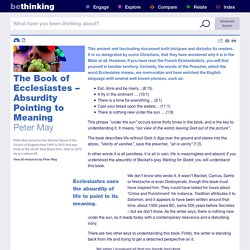 The Book of Ecclesiastes – Absurdity Pointing to Meaning