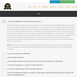 GUARDIAN ECCLESIASTICAL MEDICAL ASSOCIATION FAQ