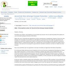 Accord de libre-échange Canada/Colombie : Lettre aux députés