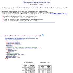 Echanges de données entre Excel et Word