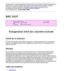 RFC 5137 — Échappement ASCII des caractères Unicode