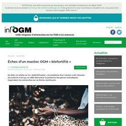 Échec d'un manioc OGM « biofortifié »
