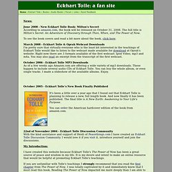 Eckhart Tolle: a fan site (Quotes, Excerpts, Biography, Photos)