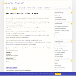 Guide de l'éclairage - Photométrie : notions de base - Guide de l'éclairage