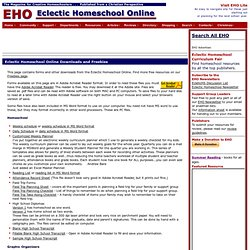 Eclectic Homeschool Online Downloads and Freebies