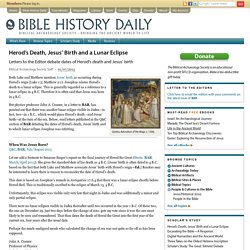 Herod's Death, Jesus' Birth and a Lunar Eclipse