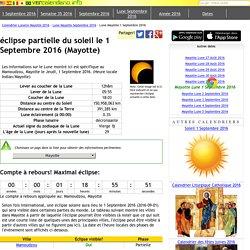 éclipse partielle du soleil le 1 Septembre 2016 (Mayotte)