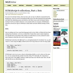 ECMAScript 6 collections, Part 1: Sets