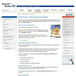 MAPAQ 15/03/16 Écocertification – pêches et aquaculture durables