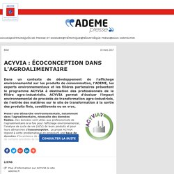 ACYVIA : écoconception dans l'agroalimentaire – ADEME Newsroom
