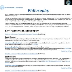 Everything Is Connected: Philosophy--Deep Ecology, Ecofeminism, Pantheism, Taoism, Agnosticism