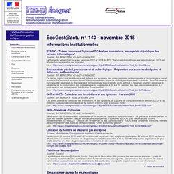 ÉcoGest@actu n° 143 - novembre 2015