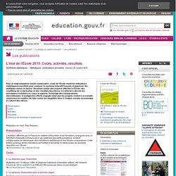 L'état de l'École 2015. Coûts, activités, résultats