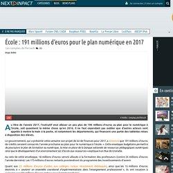 École : 191 millions d'euros pour le plan numérique en 2017