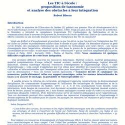 Les TIC à l'école: proposition de taxonomies et analyse des obstacles à leur intégration