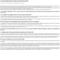 L'ECOLE REDUIT-ELLE L'INEGALITE DES CHANCES ?