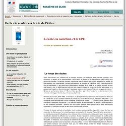 L'école, la sanction et le CPE - Canopé académie de Dijon