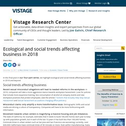 Ecological And Social Trends Affecting Business In 2018