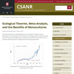 #8 Ecological Theories, Meta-Analysis, and the Benefits of Monocultures