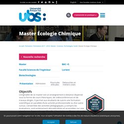 Master Écologie Chimique - Université Bretagne Sud