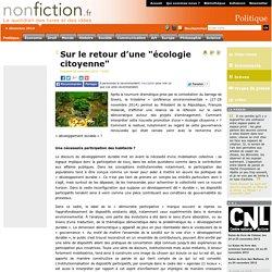 """Sur le retour dune """"écologie citoyenne"""""""