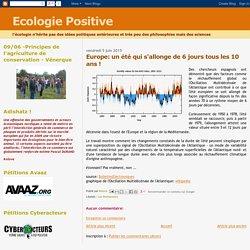 Ecologie Positive: Europe: un été qui s'allonge de 6 jours tous les 10 ans !