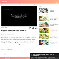 Ecologie : Le baume à lèvres naturel (14 mai) - Vidéo Sciences et technologie