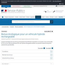 Prime écologique pour un véhicule particulier électrique ou hybride