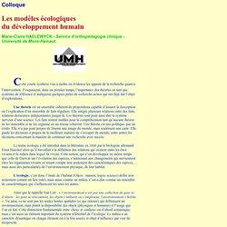 Les modèles écologiques du développement humain