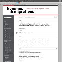 """Des """"réfugiés écologiques"""" à la protection des """"déplacés environnementaux"""" éléments du débat juridique en France"""