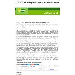 COP 21 : les écologistes tirent la sonnette d'alarme