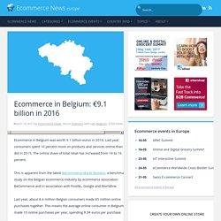 Ecommerce in Belgium: €9.1 billion in 2016