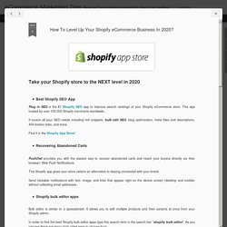 How To Level Up Your Shopify eCommerce Business In 2020?
