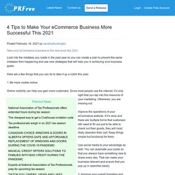 4 Tips to Make Your eCommerce Business More Successful This 2021